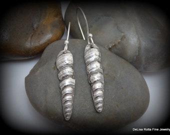Recycled Silver, Eco Friendly, Unicorn Horn, Sea Shell Earrings, Gift, Surfer, Beach Jewelry, Dangle Earrings
