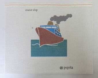 Imperfect Needlepoint Cruise Ship Ocean Boat Cheap
