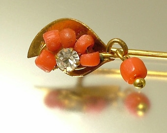 Antique/ estate 1900s Edwardian gilt metal, paste and coral cravat/ stick pin - jewelry jewellery UK seller