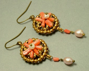 Vintage/ estate 1990s Victorian style reproduction, salmon coral & white freshwater pearl drop earrings - jewelry / jewellery