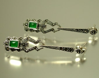 Antique / estate Art Deco style geometric sterling silver, green agate and marcasite drop earrings - jewelry jewellery