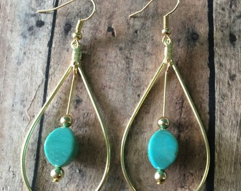 Turquoise & Gold Teardrop Earrings