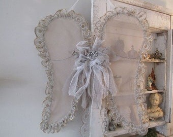 Tulle lace angel wings wall hanging ethereal French Nordic antique style wire wing set muted white beige tattered decor anita spero design