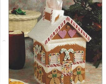 Gingerbread House Plastic Canvas Pattern, Christmas Decor, Tissue Box Cover, Holiday Decor, Boutique Tissue, Annie's International
