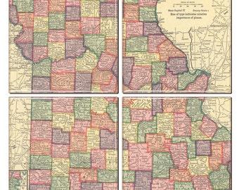 Missouri Coaster Set of 4 Antique Missouri Map cicra 1908