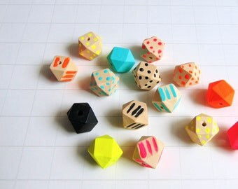 Neon Geometric Mix Wood Beads, Hand Painted wood Beads, Summer Geometric Jewelry,Do it Yourself Geometric necklace