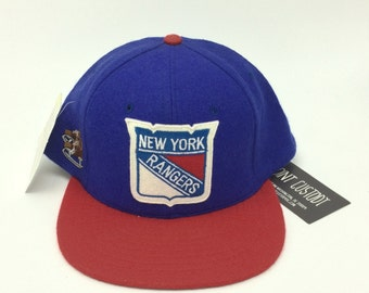 Deadstock Vintage NEW YORK RANGERS Wool Snapback Hat Adjustable Tag nhl Hockey Sports Athletic Ice Skating Team