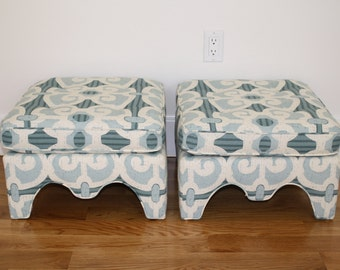 SALE Vintage pair of upholstered linen cotton aqua stools ottomans benches