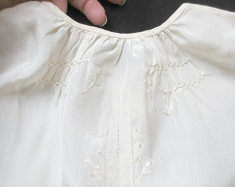 Antique Baby Baptism/Christening Slip, Silk with Embroidered Flowers and Fagotting, Handmade