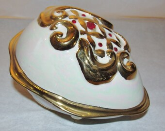 Porcelain Gold Painted  Trinket Box Red Rhinestones and a Mother-of-Pearl Glaze Finish