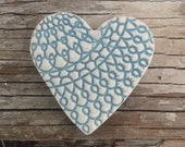 Handmade Wedgewood blue ceramic textured heart brooch