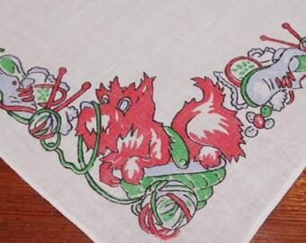 Vintage Childs Hankie Handkerchief: Red Scottie Dog Yarn Shoes Mess