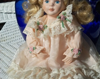 Vintage Porcelain Blonde Girl Doll,Beautiful,Color Peach,Lots of Lace