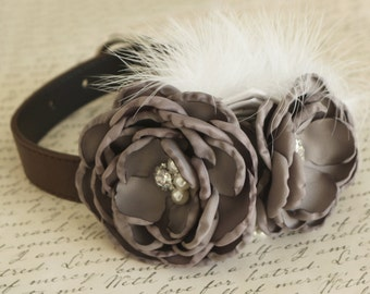Gray Flower Wedding dog collar, Dog birthday gift, Pet wedding, flowers with Pearls and Rhinestone