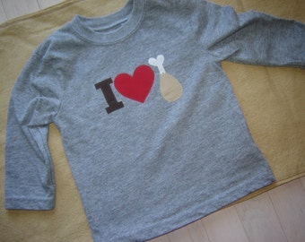 Custom Long-Sleeved Grey I Heart Turkey Toddler Shirt - Thanksgiving