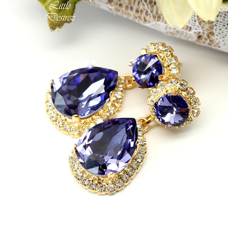 Lavender Tanzanite: Purple Earrings Tanzanite Swarovski By LittleDesirezJewelry