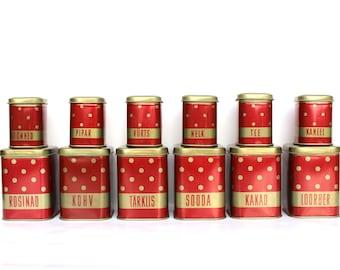 Soviet vintage tins Red polka dot tin set UNUSED Soviet nesting tins Retro food storage Spices jar set Red kitchen decor