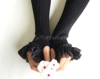 Black Lace Wool Gloves, Black Arm Warmers, Womens Woolen Gloves, Fingerless Gloves.