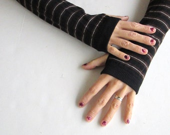 Valentine's Day gifts, gifts for women, Gifts for Her, Stripe Arm Warmers- Fingerless Knit Gloves.
