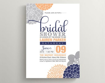 Printable Bridal Shower Invitation - Modern flower design, Peach, Grey & Navy (PP30)