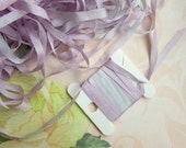 Pink Skinny Hand Dyed Silk Embroidery Ribbon - 4mm  -  Needlecraft - Silver Lavender Purple