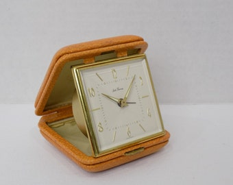 Vintage Mid Century Seth Thomas Bedside Folding Alarm Clock - Hollywood Regency Retro Home Decor Tabletop - 1970's Germany - Collectible