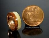 Irish coin wedding ring with mahogany wood and deer antler