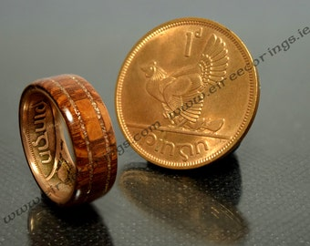 Mahogany wood wedding band engagement rings