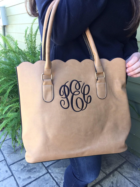 monogrammed scallop edge tote purse