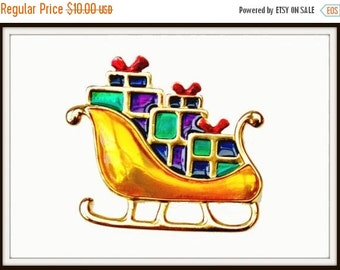 Christmas Sleigh Brooch with presents gold purple and green enamel