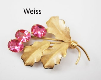 Weiss Brooch - Pink rhinestone - Brushed gold tone - mid century floral pin