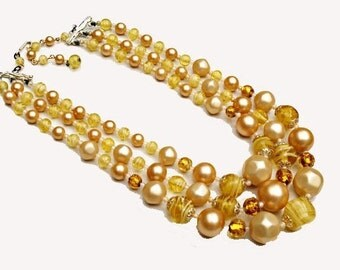 Triple Strand Bead necklace  - Yellow cream  Glass Beads  - Signed Japan Vintage