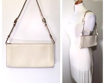 Vintage Salvatore Ferragamo Handbag Cream Leather Ferragamo Purse 1990s Small Leather Shoulder Bag Evening Bag Designer Bag