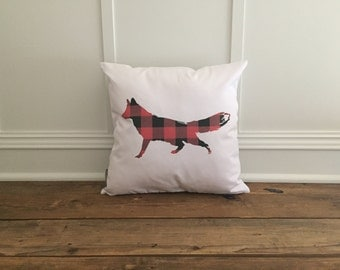 Buffalo Plaid Fox Pillow Cover (Red)
