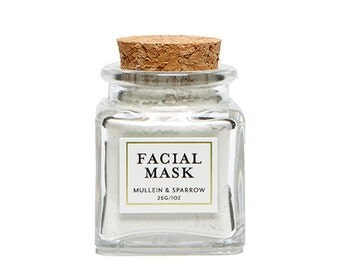 Facial Mask Mini - detoxifying, natural clay, essential oils, herbal powder, cleansing - 1 oz - glass jar - travel size - mother's day