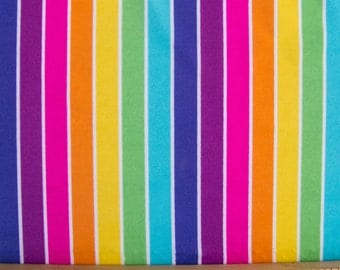 Lycra Fabric Spandex Polyester material  - White, bright colorful Stripes - 18 x 58 inches - perfect for swimwear leotards sports apparel