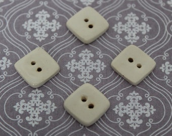 Small Square Ceramic Buttons - Cream - set of 4