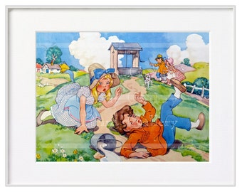 Jack and Jill Nursery Rhyme Child Art Print Retro Art Nursery Decor Baby Children Bedroom Decor Wall Art Picture Old Painting mn 1014