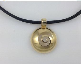 SALE 30% OFF Spirals-Gold Necklaces Spiral Pendant  Spiral Pendant on Black Leather cord Gold Pendant Gold Spiral