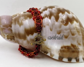 Beaded Chainmaille Jewelry, Handmade Red and Orange Helm Weave Chainmail Bracelet