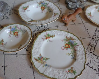 Myott Staffordshire England-Devon-Square Embossed Bright Florals Soup Bowls-X8