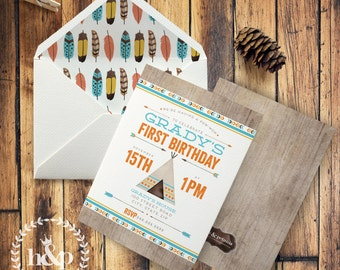 Pow-Wow Birthday Invitation