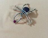 Brooch, Spider Pin, Animal Brooch, Unique Brooch, Rhinestone Spider, Embellishment, Beautiful Embellishment, Blue Beaded Spider, 24-159