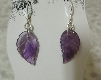 Amethyst Leaf-Shapped Earrings and Sterling Silver