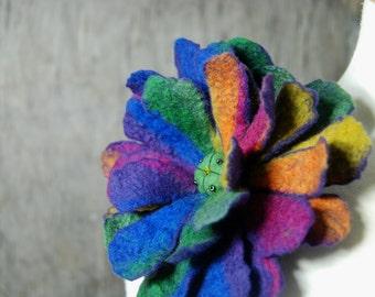 Felted flower brooch, felted pin, felt flower brooch pink, blue,purple, green, multicolor  felted art merino wool brooch felt jewelry