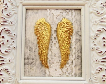 Large Detailed Angel Wings Raw Brass Stamping Bird Wing Steampunk Ornament 52mm Long - Pair