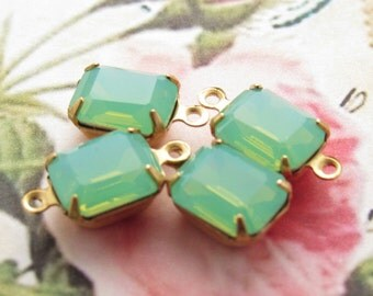 Green Opal Rhinestone 10x8mm Octagon Glass Stones in Brass Drop or Connector Settings - 4