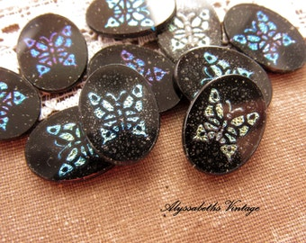 Vintage Iridescent Blue Green Butterfly Mosaic Cameo Cabochons 18x13mm Jet Black Glass Oval  - 2