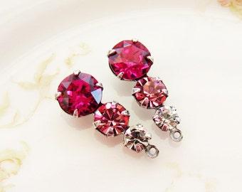 Swarovski Fuchsia Pink Rose & Crystal Triple Rhinestone Drops Teardrop Dangles Brass or Antiqued Silver Setting - Pair