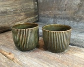 Hand Carved Cups great as stemless wine glasses in Italian Olive